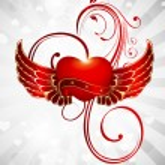 Glowing wings heart. — Stock Vector