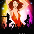Template flyer and background for dance party with beautiful dan — Stock Vector