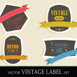 Vintage Style colorful Labels with retro design and ribbon. EPS1 — Stock Vector