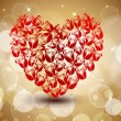 Sparkling red heart shape made with roses on brown shiny seamle — Stock Vector