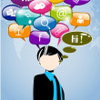 Men with thought speech bubble with social network sign on worl — Stock Vector