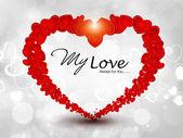 Fonkelende rode hart vorm gemaakt met kleine hart vorm op grijs s — Stockvector