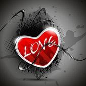 Frizzante a forma di cuore in colortied rosso con filo elettrica su gr — Vettoriale Stock
