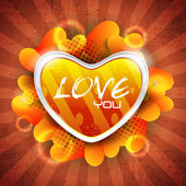Glossy heart shape on grungy rays background with lots of heart — Stock Vector