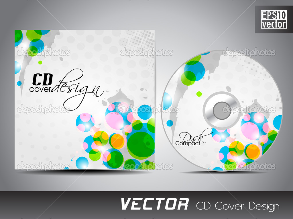 Vector CD cover design with coloeful abstract on grungy grey background for your business. EPS 10. Vector illustration. — Stock Vector #10566567