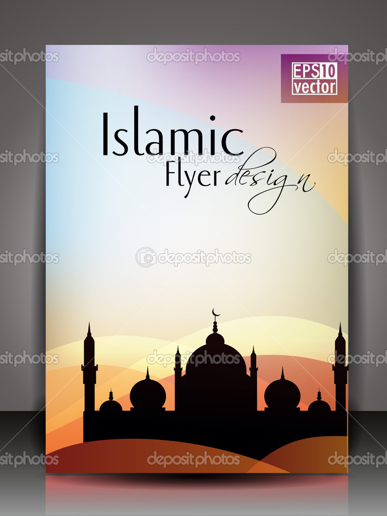 islamic brochure design - islamic flyer brochure or cover design with mosue or