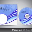 Vector CD cover design with colorful waves in bright and dark blue color — Stock Vector