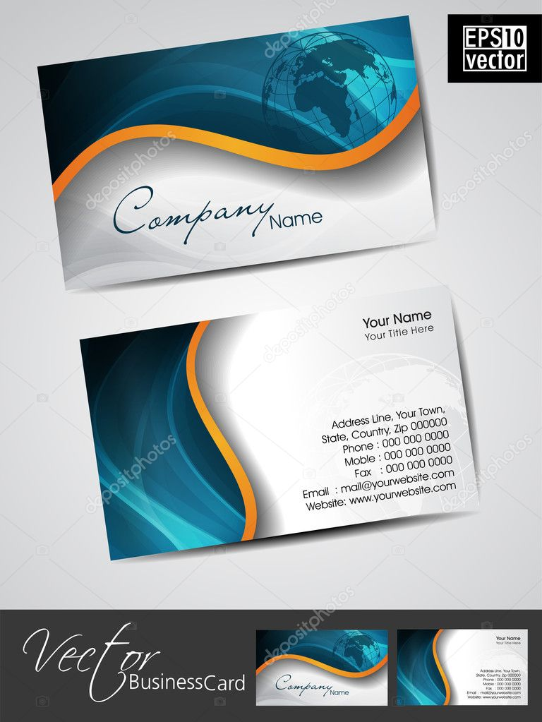 professional business cards template or visiting card set stock