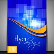 Professional business flyer template or corporate brochure design in blue color with shiny abstract design and wave pattern for publishing, print and presentation. Vector illustration in EPS 10 — Stock Vector #10701310