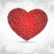 Sparkling red heart shape made with small heart shape on grey se — Stock Vector