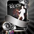 Party banner, flyer or poster with shiny speakers and a dancing boy on grey rays background. EPS 10. — Stock Vector