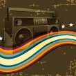 Creative and colorful wave lines with music background on brown retro background. EPS 10. Vector illustration. — Stock Vector