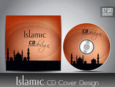 Islamic CD cover design with Mosque or Masjid silhouette with wave and floral effects in orange color — Stock Vector