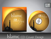 Islamic CD cover design with Mosque or Masjid silhouette with wave and grunge effects in yellow color. — Stock Vector