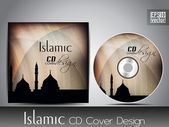 Islamic CD cover design with Mosque or Masjid silhouette with wave and grunge effects in light brown color — Stock Vector