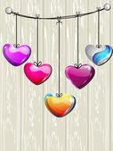 Musujące czerwone serce kształt z małym sercu kształt na szary se — Wektor stockowy