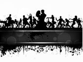 Party banner, flyer or poster with a musical band silhouette on grungy musical notes background. EPS 10. can be use as banner, tag, icon, sticker, flyer or poster. — Stock Vector