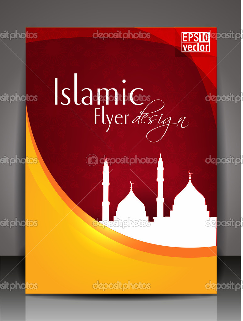 Islamic Book Cover Design Vector : Islamic flyer or brochure and cover design with mosque