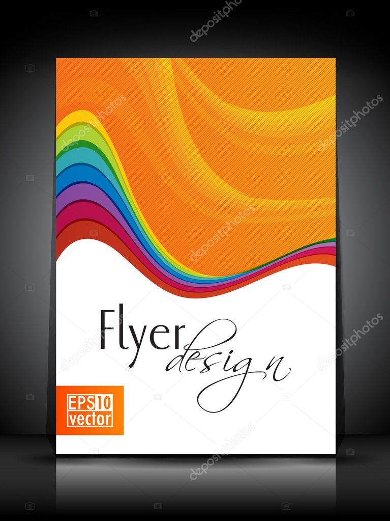Professional business flyer template or corporate brochure design in colorful wave pattern for publishing, print and presentation. Vector illustration in EPS 10 — Stock Vector #10701267