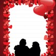 Vector, card with a love couple on hearts shape concept backgrou - Stock Vector