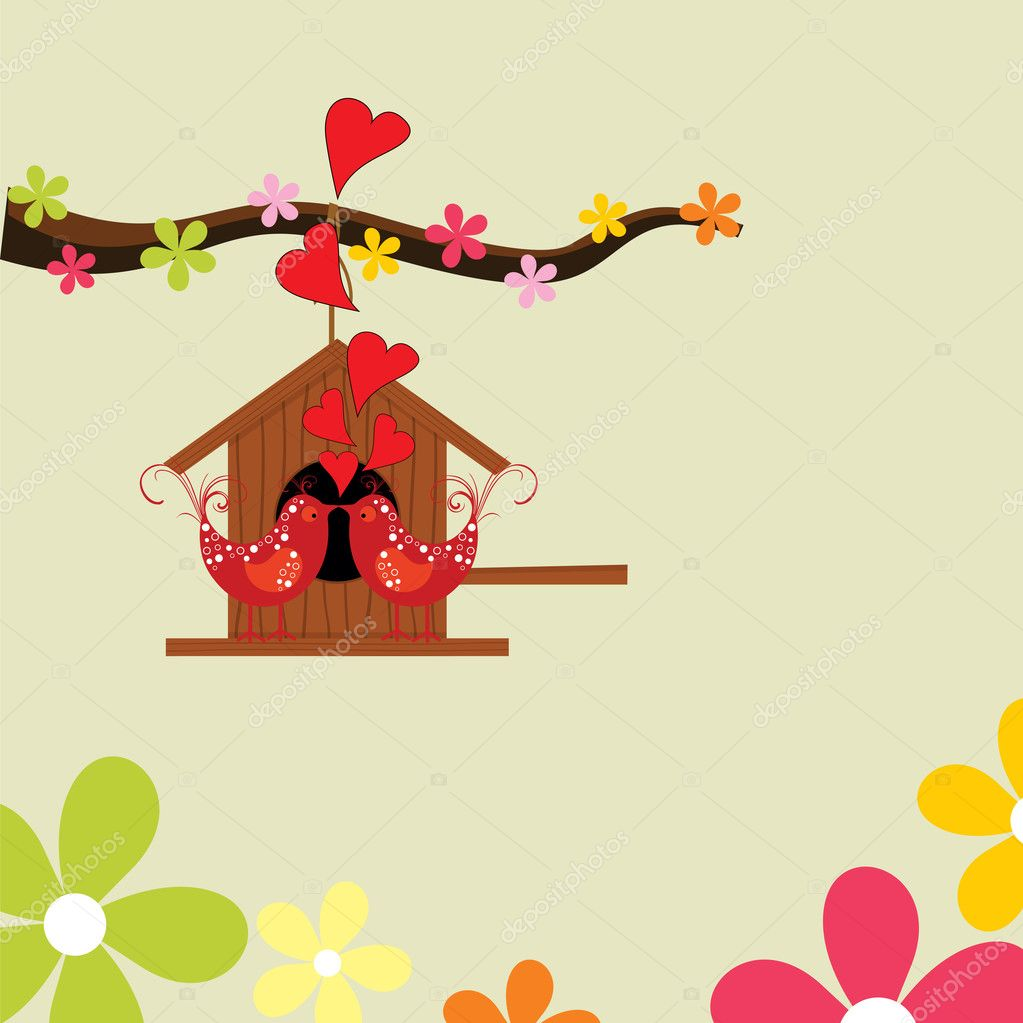 Greeting card with love theme heaving love birds, hanging wooden hut on tree branch, floral background for Valentine Day. — Stock Vector #7985550