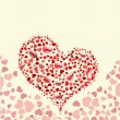 Heart shape made with little hearts on seamless heart background - Stock Vector