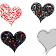 A set of creative & different styles hearts shape on white backg — Stock Vector