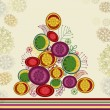 Creative stylish Xmas tree on floral background. — Vecteur