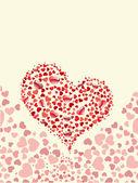 Heart shape made with little hearts on seamless heart background — Stockvektor