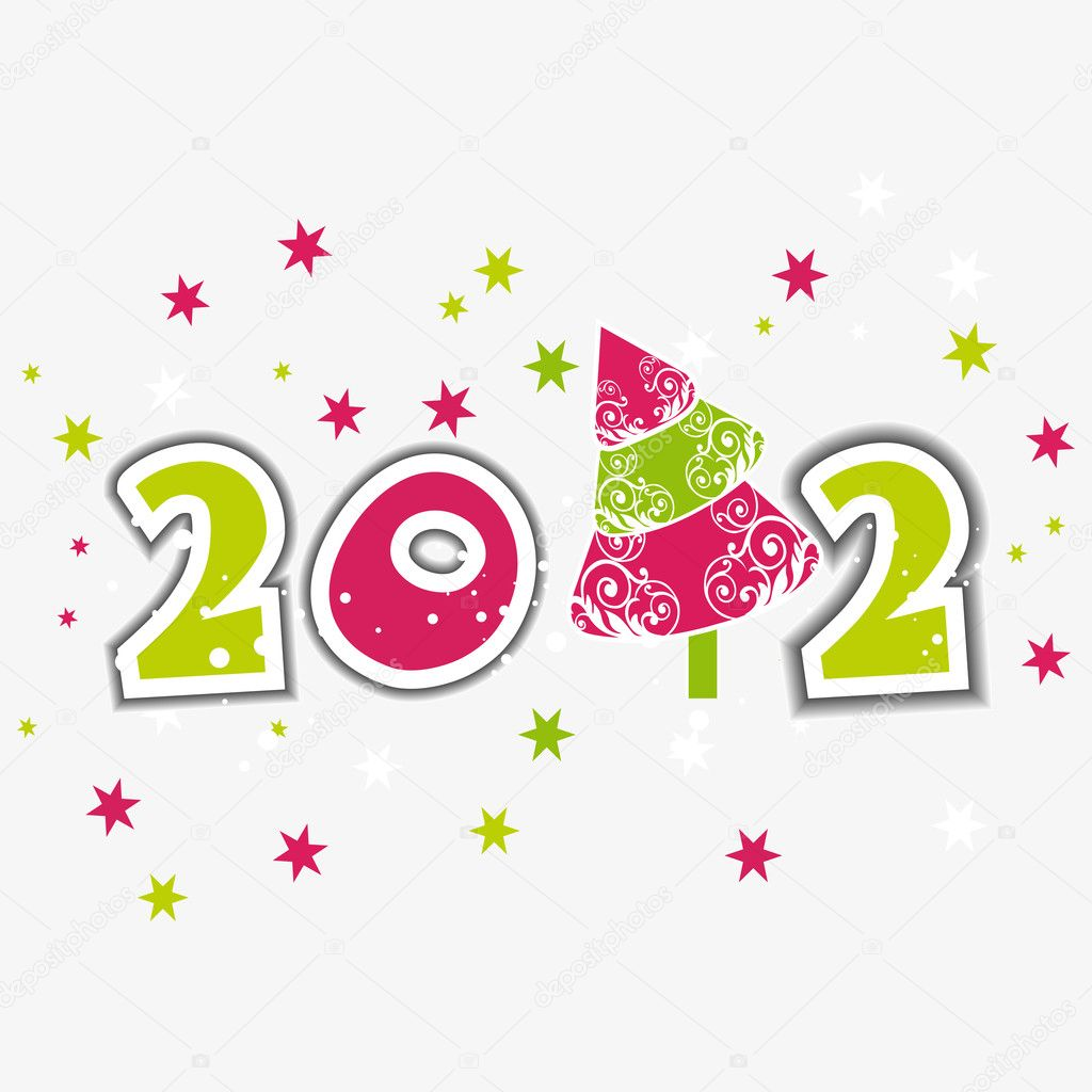Greeting Card with stylish text 2012 in green & pink color with stars on white Bcakground for christmas & other occasions.  Stock Vector #8009751