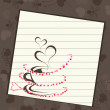 Coffee cup with pink  hearts and space for your text.Vector illu - Vektorgrafik