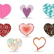A set of diffrent style heart shape. Vector illustration. - Stock Vector