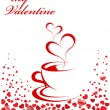 Abstract vector illustration of coffee-cup and hearts. Place for — Imagens vectoriais em stock