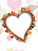 Wenskaart met kleurrijke hart vorm en ruimte voor uw tekst. — Stockvector