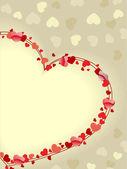Lindo cartão com espaço de cópia em forma de coração. eu vector — Vetorial Stock