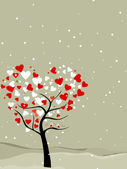 Abstract, valentine tree with hearts & love birds. Vector illust — Stockvector