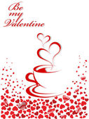 Abstract vector illustration of coffee-cup and hearts. Place for — Stock Vector
