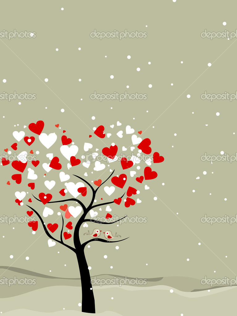 Valentine tree with hearts shape, snow flakes  & love birds, greeting card for valentines day. — Stock Vector #8010798