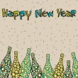Colorful retro pop Champagne  bottles for New Year, Christmas &amp; - Stock Vector