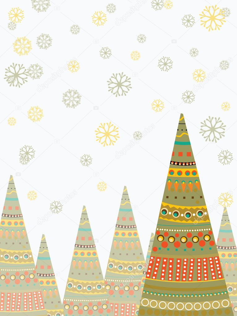 Elegant, creative christmas tree on white seamless christmas trees background for Christmas & other occasions.  Stock Vector #8034577