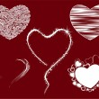 Set of five heart shape mordern graphic. Vector ilustration. — Imagen vectorial