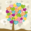 A beautiful Valentine tree  made with colorful  hears shapes. Ve — Stock Vector