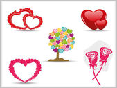 Collection of detailed vector hearts,rose & tree. love symbols f — Stock Vector