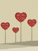 Valentine trees in heart shape. Vector illustration. — Stock Vector