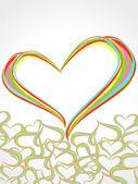 Rainbow linjer korsar varandra i hjärta form. vektor illustr — Stockvektor
