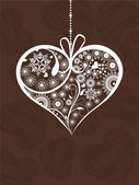 Hanging decorative heartshape on brown color background. Vector — Cтоковый вектор