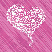 Beautiful heart shape made with small hearts on pink line backgr — 图库矢量图片