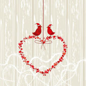 Vintage card, love birds couple sitting on hanging heart on wood — Stock Vector