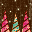 A Christmas & New Year card with decorative abstract Christmas t - Stock Vector