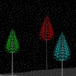A glowing colorful christmas trees on black background. Vector i - Stock Vector